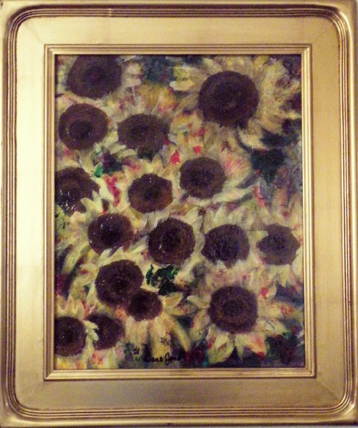 Sunflower Abstract 16X20 Mixed Media Lg Frame