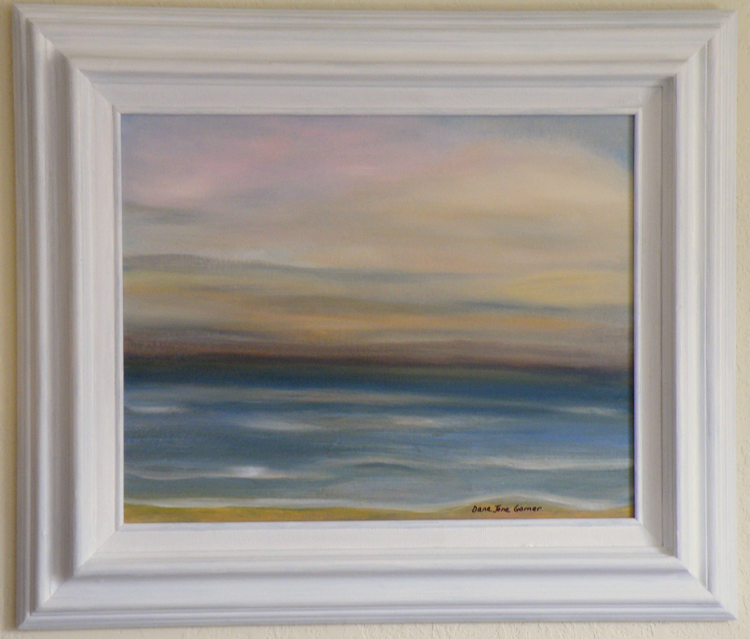 calming lake 16x20 oil on canvas board large frame 375 dana jane