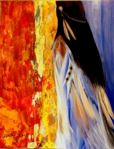 """Enola""    Native name for Alone 22X28 Acrylic on Canvas"